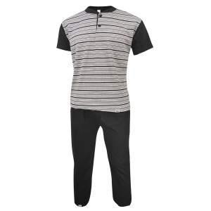 Dressa Home csíkos rövid ujjú gombos férfi pamut pizsama szett - szürke