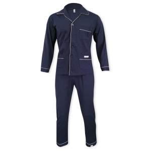 Dressa Home klasszikus férfi elöl gombos pamut pizsama - sötétkék