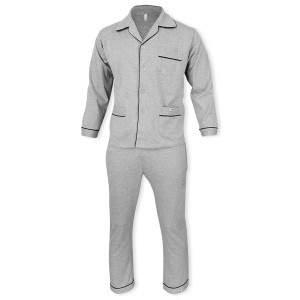 Dressa Home klasszikus férfi elöl gombos pamut pizsama - szürke