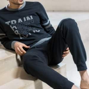 Lotto LP6023 férfi pamut pizsama - fekete