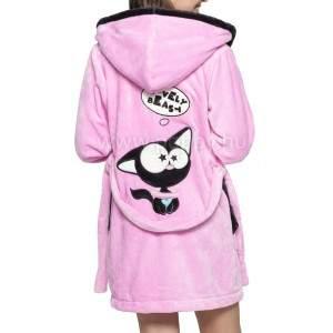 Poppy DK nyakörves cica mintás női köntös - pink-fekete