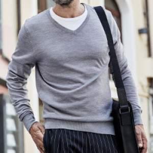 Tee Jays 6001 férfi V-nyakú gyapjú pulóver