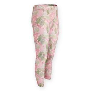 Dressa Active pálmafa mintás enyhén magasított derekú fitness leggings - fehér