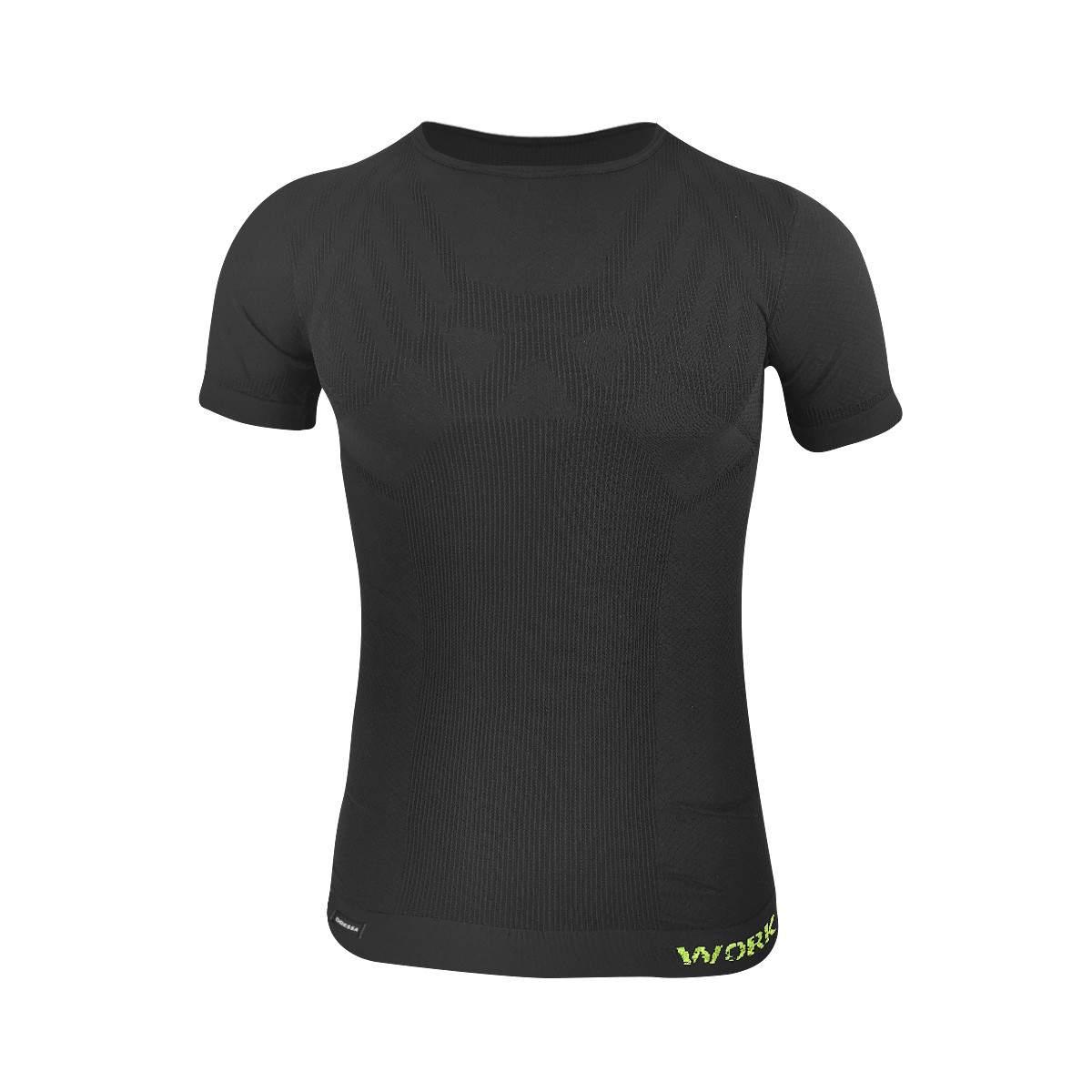 Dressa Work rövid ujjú varrás nélküli férfi fitness és edző póló - fekete