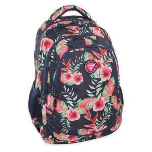 Budmil hibiszkusz mintás hátizsák lányoknak - sötétkék