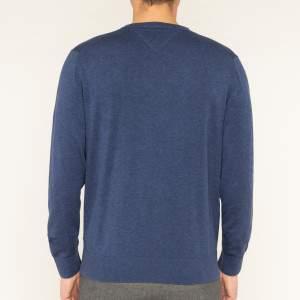 Tommy Hilfiger férfi organikus pamut V nyakú pulóver - sötétkék