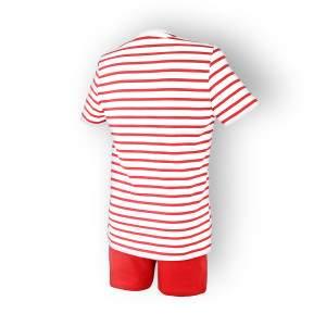Dressa csíkos női rövidnadrágos pamut pizsama - piros