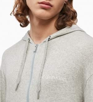 Calvin Klein férfi cipzáros kapucnis pulóver - szürke