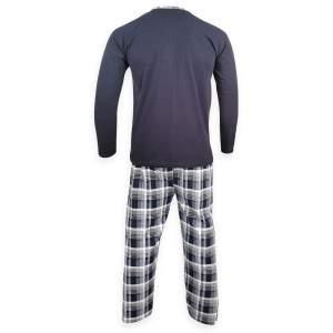 Dressa Home Basketball elöl gombos pamut férfi pizsama - sötétkék