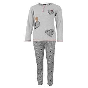 Dressa Home hosszú ujjú kétrészes gombos macis női pamut pizsama szett - szürke