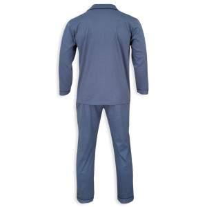 Dressa Home klasszikus férfi elöl gombos pamut pizsama - farmerkék