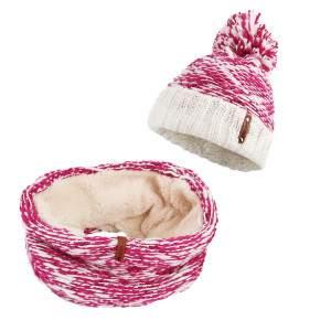 Dressa horgolt bojtos női sapka körsál szett - pink
