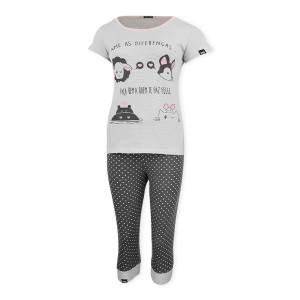 Dressa Home rövid ujjú háromnegyedes mintás női pamut pizsama - szürke