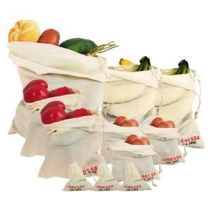 Dressa Shopping összehúzható biopamut textiltáska és szütyő kezdő csomag - 11 db