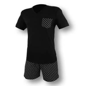 Dressa zsebes férfi rövidnadrágos pamut pizsama - fekete