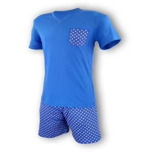 Dressa zsebes férfi rövidnadrágos pamut pizsama - kék