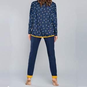 Lutnia női kétrészes pamut pizsama - sötétkék