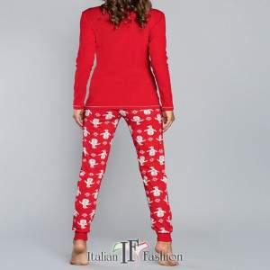 Malika női kétrészes pamut pizsama - piros