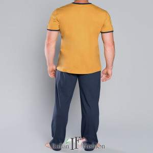 Rafael férfi kétrészes pamut pizsama - sárga-sötétkék