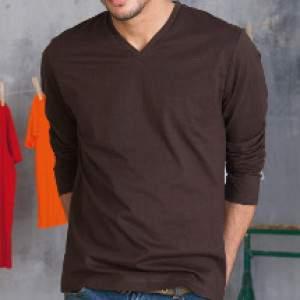Kariban K358 férfi V nyakú hosszúujjú póló