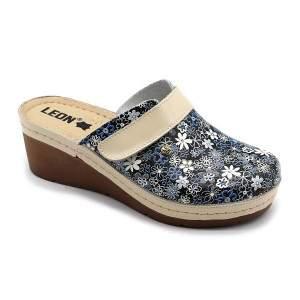 Leon 1003 divatos virágmintás női telitalpú bőr klumpa - kék