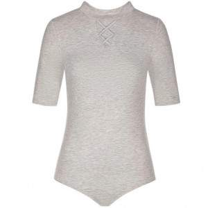 Triumph Mix & Match garbó nyakú női body - melange szürke