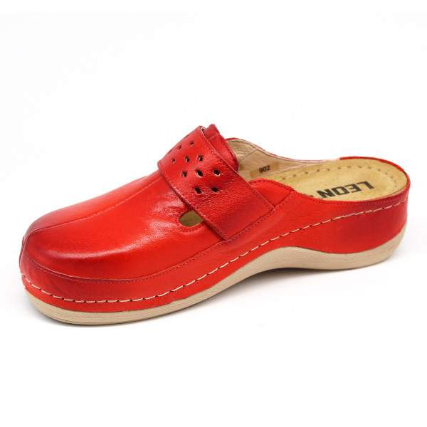 Leon 902 női bőr papucs - piros