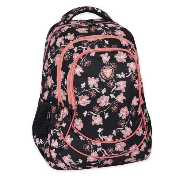 Budmil Loore virágos hátizsák - fekete-lazac színű