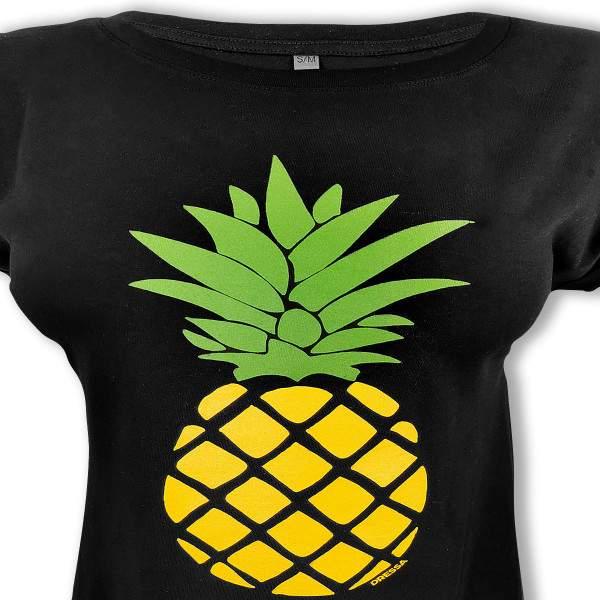 Dressa Pineapple Ananászos pamut női pólóruha - fekete