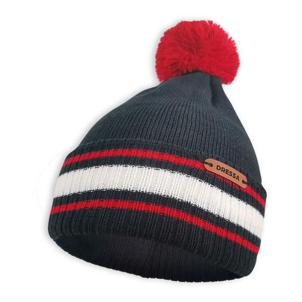 Dressa Beanie kötött bojtos téli sapka - sötétkék-piros