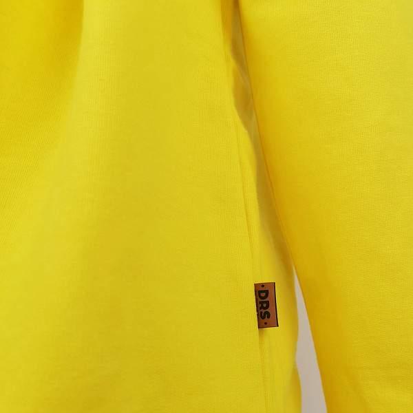 Dressa Casual kenguruzsebes hosszított női pamut kapucnis pulóver - sárga