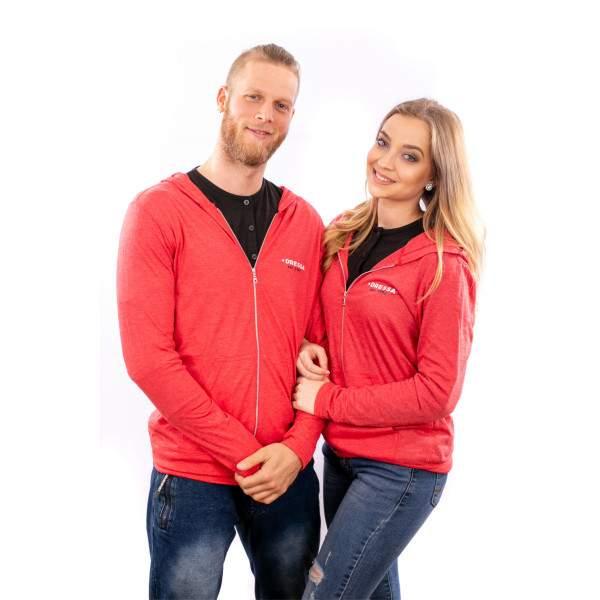 Dressa Collection cipzáros kapucnis póló - piros