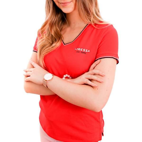 Dressa Collection V nyakú női piké póló - piros
