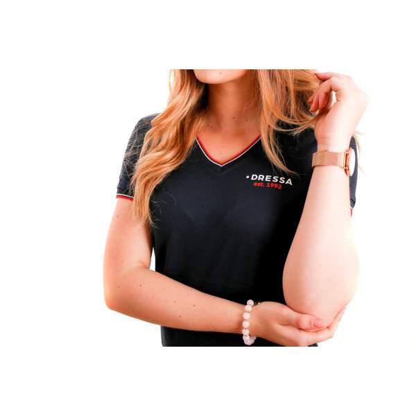 Dressa Collection V nyakú női piké póló - sötétkék