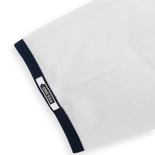 Dressa DRS College gombos V-nyakú ringer női póló - fehér-sötétkék