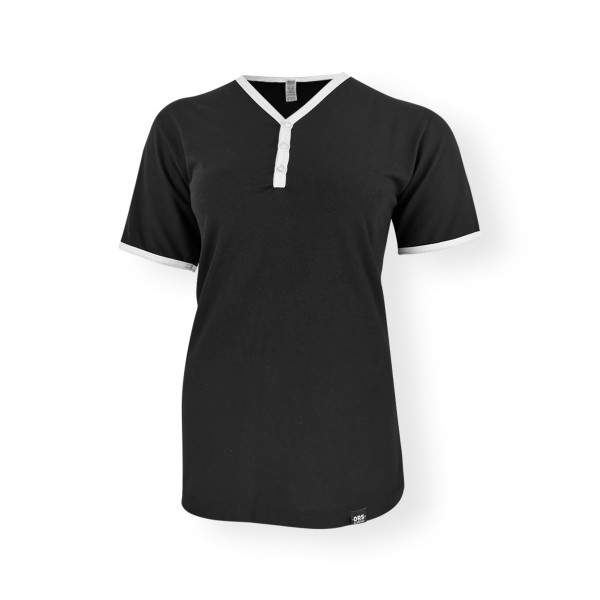 Dressa DRS College gombos V-nyakú ringer női póló - fekete