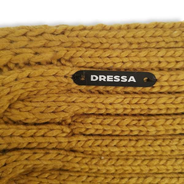 Dressa csavart mintás horgolt sál és kesztyű szett - mustársárga