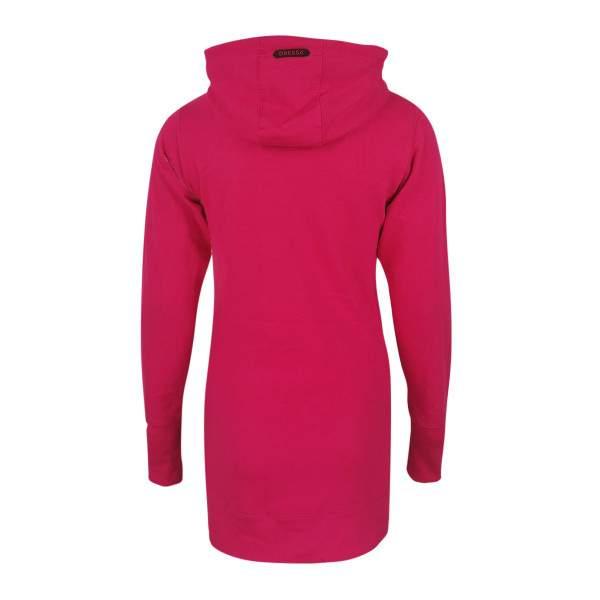 Dressa DRS Casual kenguruzsebes női pamut hosszú kapucnis pulóver - pink