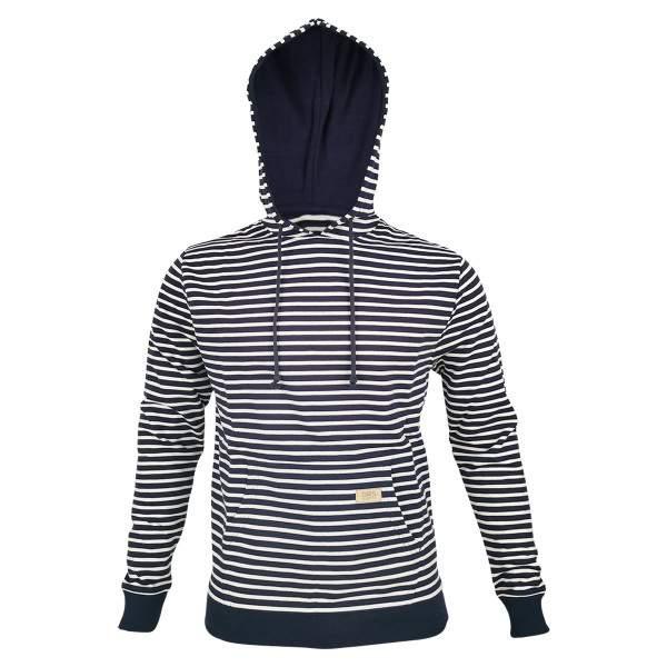 Dressa DRS csíkos férfi pamut kapucnis pulóver - sötétkék