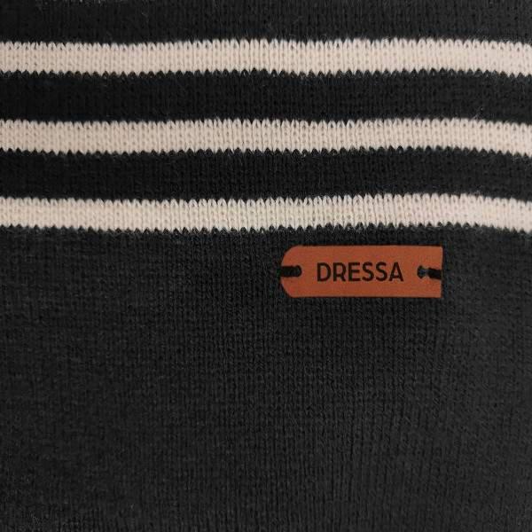 Dressa DRS kötött csíkos sapka sál kesztyű szett - fekete