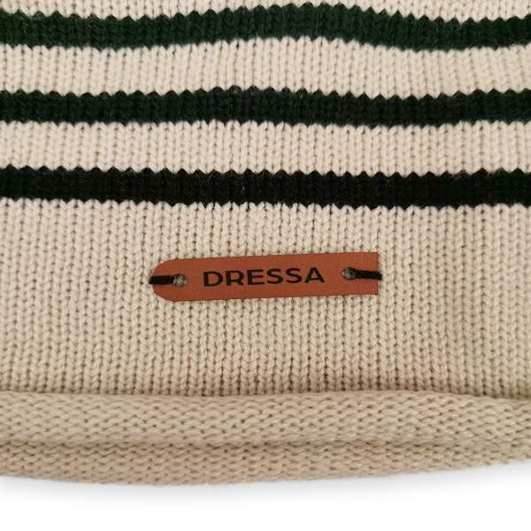 Dressa DRS kötött csíkos sapka sál kesztyű szett - natúr
