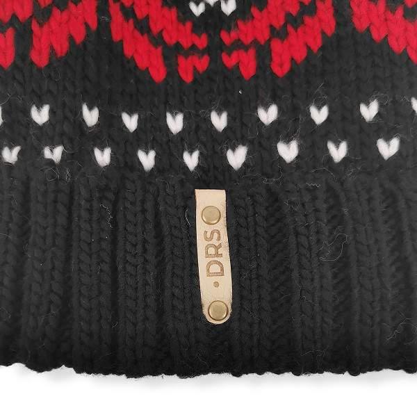 Dressa DRS norvég mintás horgolt bojtos téli sapka - fekete