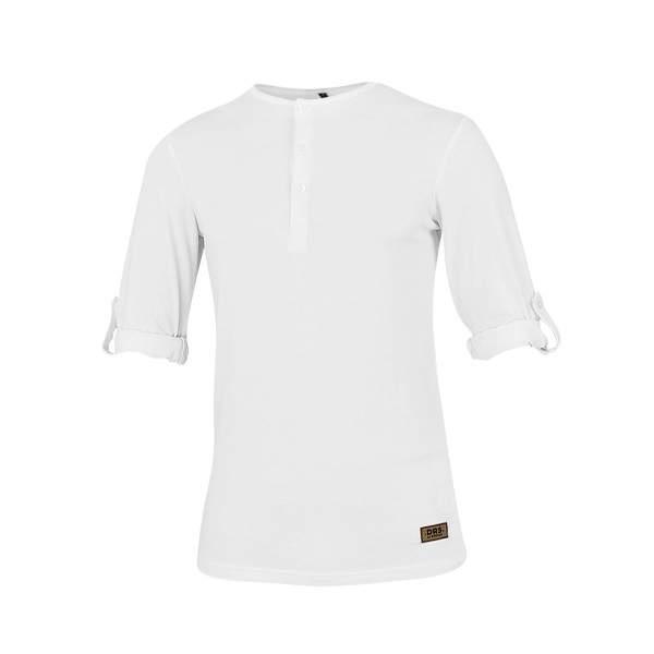 Dressa felgombolható ujjú férfi gombos póló - fehér