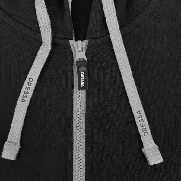 Dressa férfi pamut kapucnis cipzáras pulóver - fekete-szürke