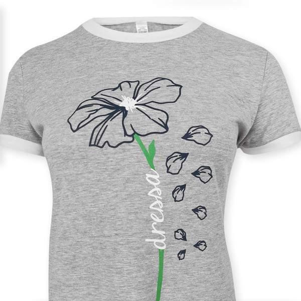 Dressa Flower virágmintás női pólóruha - melírszürke
