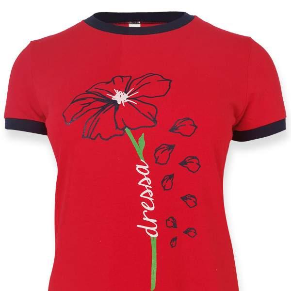 Dressa Flower virágmintás női pólóruha - piros