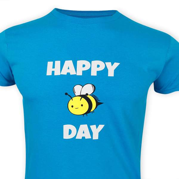 Dressa Happy Day méhecskés rövid ujjú férfi biopamut nagyméretű póló - kék