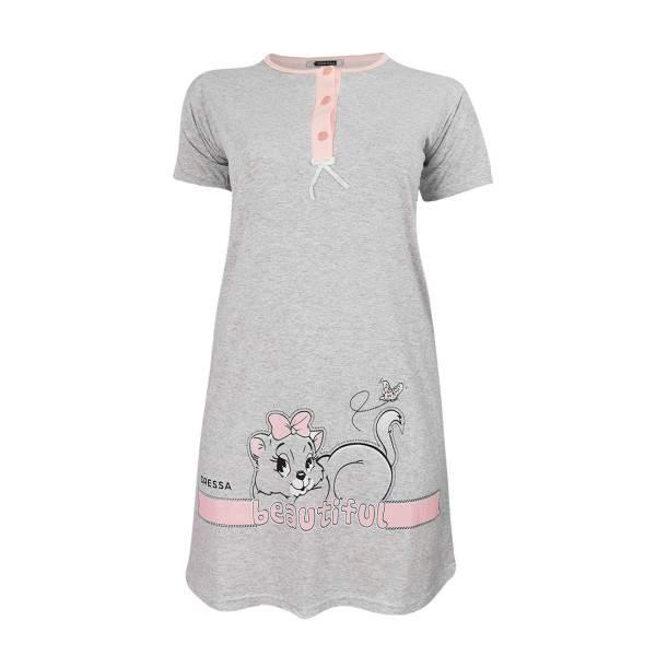 Dressa Home Beautiful cicás gombos rövid ujjú női pamut hálóruha - melírszürke