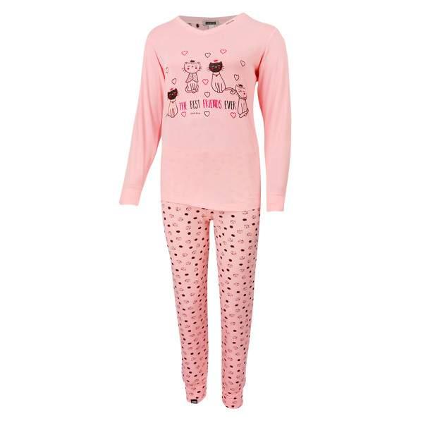 Dressa Home cicás hosszú ujjú v-nyakú női pamut pizsama - rózsaszín