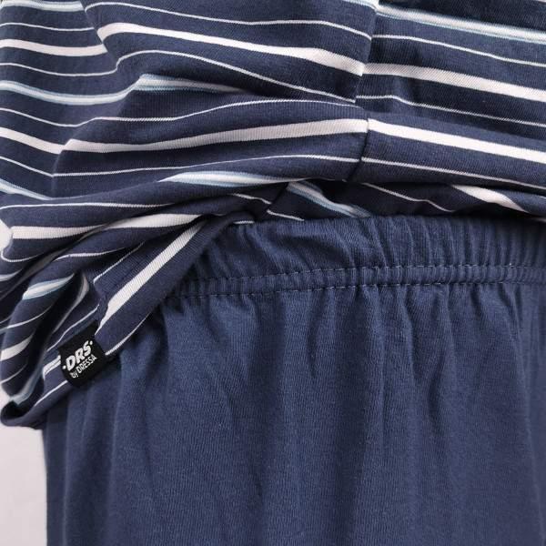Dressa Home csíkos rövid ujjú gombos férfi pamut pizsama szett - sötétkék